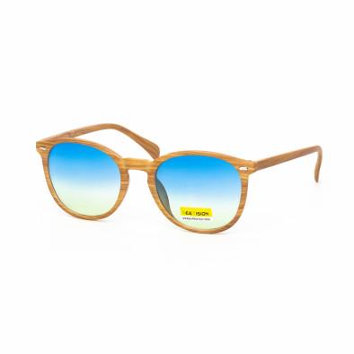 Ανδρικά γαλάζια γυαλιά ηλίου ξύλινο μοτίβο natural it030519-49 2