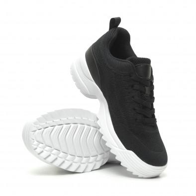 Ανδρικά μαύρα αθλητικά παπούτσια με Chunky σόλα it230519-13 5