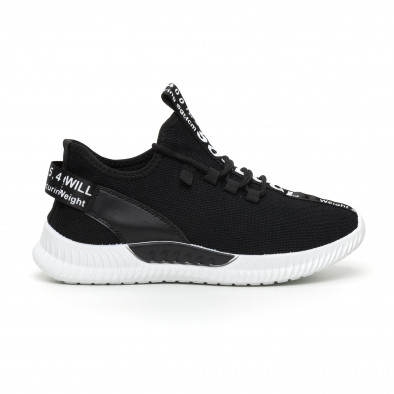 Ανδρικά μαύρα υφασμάτινα αθλητικά παπούτσια με λευκή επιγραφή it110919-3 2