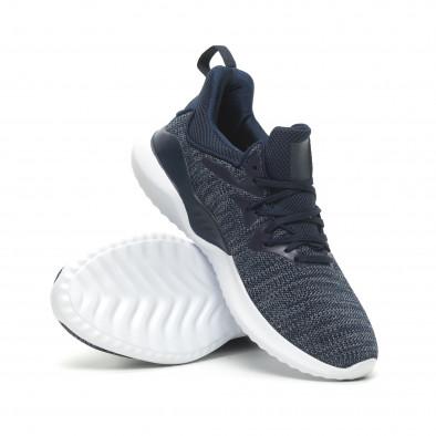 Ανδρικά μπλε μελάνζ αθλητικά παπούτσια πλεκτό μοντέλο it230519-4 4