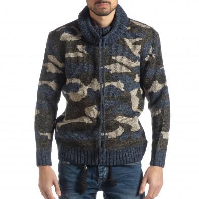 Ανδρικό μπλε πουλόβερ παραλλαγής με πόλο γιακά it051218-50 2