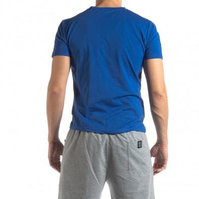 Ανδρική μπλε κοντομάνικη μπλούζα με λογότυπο it210319-84 4