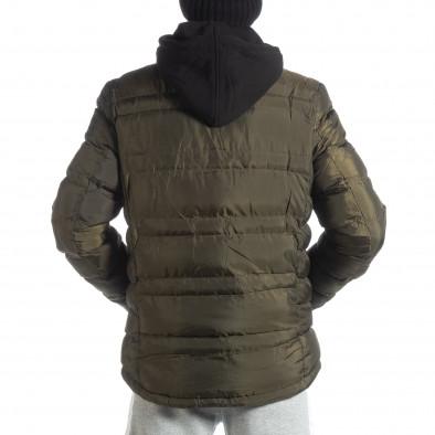 Ανδρικό χειμερινό μπουφάν με κουκούλα σε χρώμα military  it051218-63 4