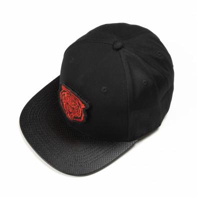 Μαύρο καπέλο και κόκκινη στάμπα it290818-5 2