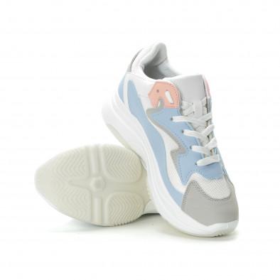 Γυναικεία λευκά αθλητικά παπούτσια με παστέλ λεπτομέρειες it270219-6 4