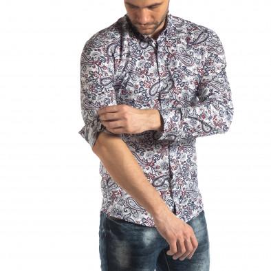 Ανδρικό λευκό πουκάμισο με κόκκινα διακοσμητικά μοτίβα it210319-90 3
