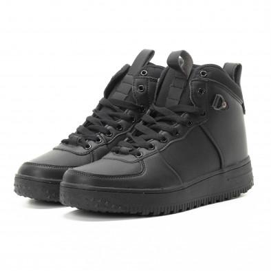 Ανδρικά μαύρα ψηλά sneakers με τρακτερωτή σόλα it301118-10 3