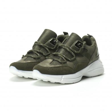 Γυναικεία χακί sneakers με πλατφόρμα it250119-35 4