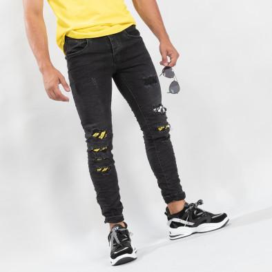 Slim fit ανδρικό μαύρο τζιν με διακοσμήσεις  it170819-50 3