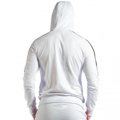 Ανδρική λευκή ζακέτα με ρίγες it040219-111 3