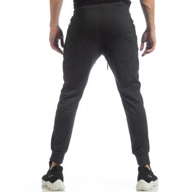 Ανδρική σκούρα γκρι φόρμα Biker με ρίγες it040219-45 4