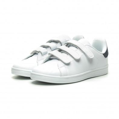 Ανδρικά λευκά sneakers με μπλε λεπτομέρεια και αυτοκόλλητα it230519-15 3