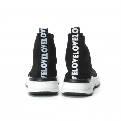 Γυναικεία μαύρα ψηλά sneakers καλτσάκι it250119-59 3