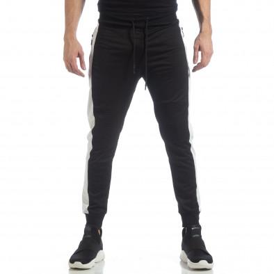 Ανδρική μαύρη φόρμα Biker με ρίγες it040219-43 3