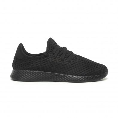 Ανδρικά μαύρα αθλητικά παπούτσια Mesh ελαφρύ μοντέλο it230519-1 2