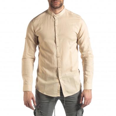 Ανδρικό μπεζ πουκάμισο από λινό και βαμβάκι it210319-101 3