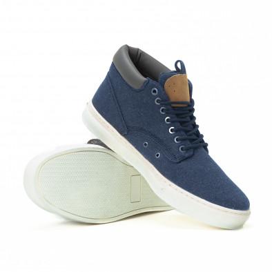 Ανδρικά μπλε υφασμάτινα sneakers με δερμάτινη λεπτομέρεια it150818-19 4