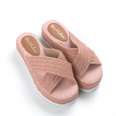 Γυναικείες πλεκτές ροζ παντόφλες  it050619-48 3