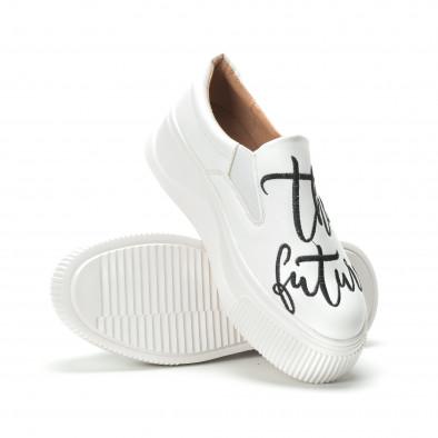 Slip- on γυναικεία λευκά sneakers με μαύρη επιγραφή it250119-42 4