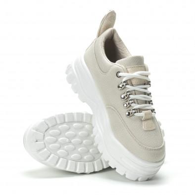 Γυναικεία μπεζ sneakers με πλατφοόρμα  it250119-92 4