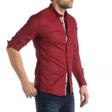 Ανδρικό κόκκινο Slimf fit πουκάμισο με σταυροτό μοτίβο it210319-95 4