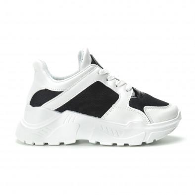 Γυναικεία ασπρόμαυρα sneakers με πλατφόρμα it250119-67 2