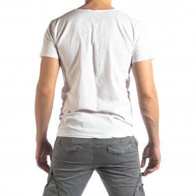 Ανδρική λευκή κοντομάνικη μπλούζα Vintage στυλ it210319-76 3