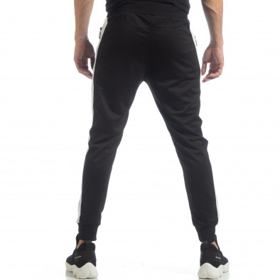 Ανδρική μαύρη φόρμα Biker με ρίγες it040219-43 4