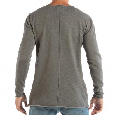 Ανδρική γκρι μπλούζα από πλεκτό ύφασμα με φερμουάρ it240818-125 3