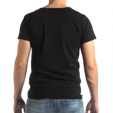 Ανδρική μαύρη κοντομάνικη μπλούζα Vintage στυλ it210319-78 3