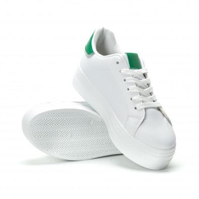 Γυναικεία λευκά sneakers με πλατφόρμα και πράσινη λεπτομέρεια it250119-51 4