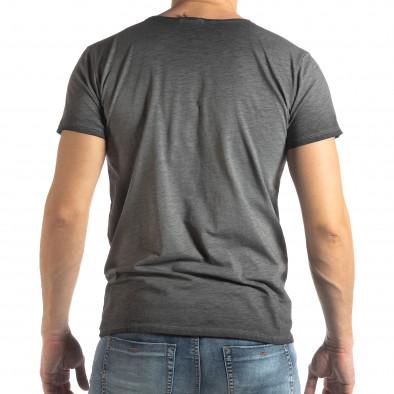 Ανδρική γκρι κοντομάνικη μπλούζα Vintage στυλ it210319-77 3
