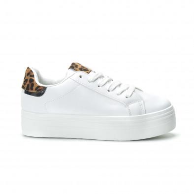 Γυναικεία λευκά sneakers με πλατφόρμα και διακοσμητικό πριντ it250119-52 2