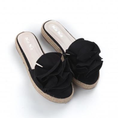 Γυναικείες μαύρες παντόφλες τύπου εσπαντρίγιες it050619-74 3