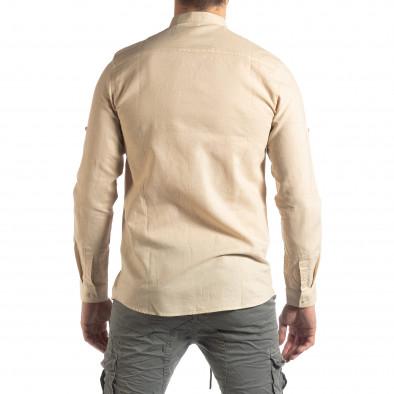 Ανδρικό μπεζ πουκάμισο από λινό και βαμβάκι it210319-101 4
