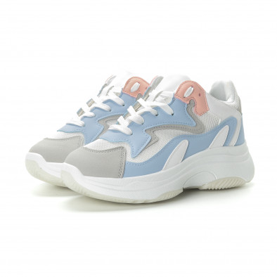 Γυναικεία λευκά αθλητικά παπούτσια με παστέλ λεπτομέρειες it270219-6 3