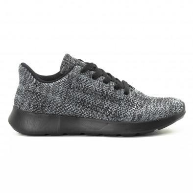 Ανδρικά υφασμάτινα αθλητικά παπούτσια  σε γκρι μελάνζ χρώμα it301118-6 2