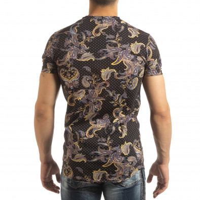 Ανδρική μαύρη κοντομάνικη μπλούζα με σχέδια it090519-62 4