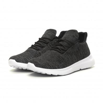 Ανδρικά μαύρα μελάνζ αθλητικά παπούτσια ελαφρύ μοντέλο με διακόσμηση it040619-7 3