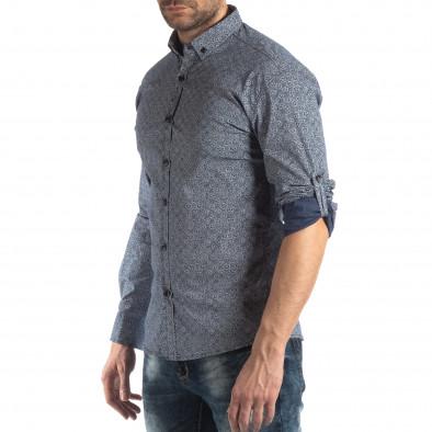 Ανδρικό γαλάζιο Slim fit πουκάμισο με φλοράλ μοτίβο it210319-92 4