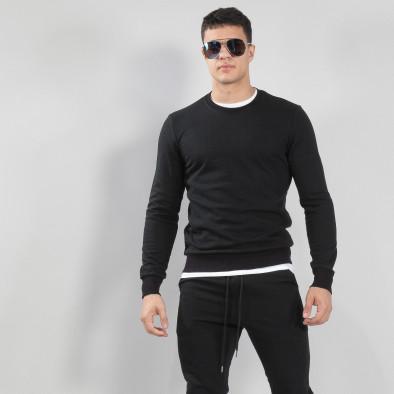 Ανδρική μαύρη βαμβακερή μπλούζα Basic it150419-48 3