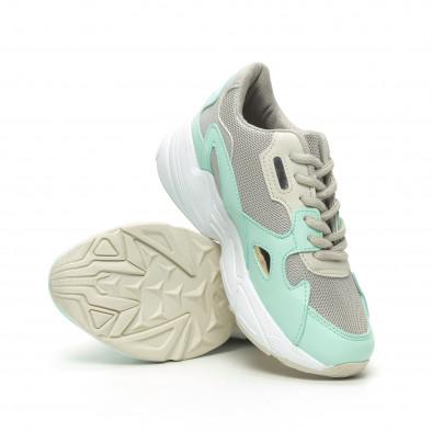 Γυναικεία πράσινα αθλητικά παπούτσια με χοντρή σόλα it230519-18 4