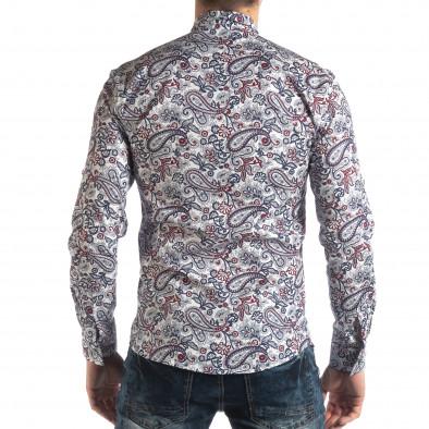 Ανδρικό λευκό πουκάμισο με κόκκινα διακοσμητικά μοτίβα it210319-90 4