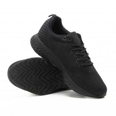 Ανδρικά μαύρα πλεκτά αθλητικά παπούτσια it301118-5 4