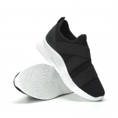 Slip-on γυναικεία μαύρα sneakers με λάστιχα it250119-63 4
