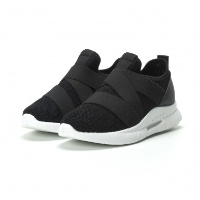 Slip-on γυναικεία μαύρα sneakers με λάστιχα it250119-63 3