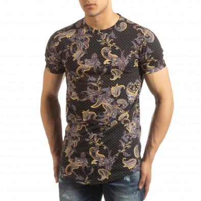 Ανδρική μαύρη κοντομάνικη μπλούζα με σχέδια it090519-62 2