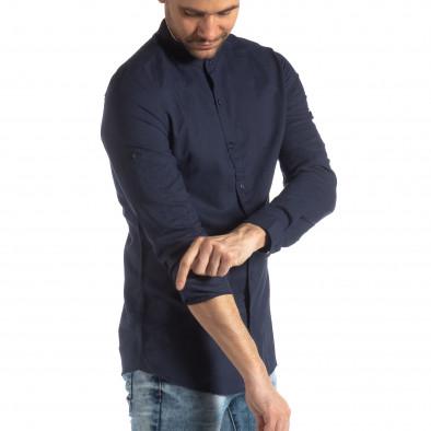 Ανδρικό σκούρο μπλε πουκάμισο από λινό και βαμβάκι it210319-106 2