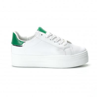 Γυναικεία λευκά sneakers με πλατφόρμα και πράσινη λεπτομέρεια it250119-51 2
