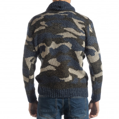 Ανδρικό μπλε πουλόβερ παραλλαγής με πόλο γιακά it051218-50 4